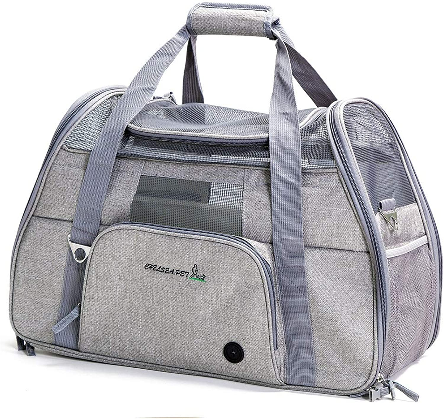 ETH Badminton Shoulder Oxford Cloth Pet Out Of The Cat Bag Foldable Pet Bag Out Of The Carrying Case (color   Grey white)