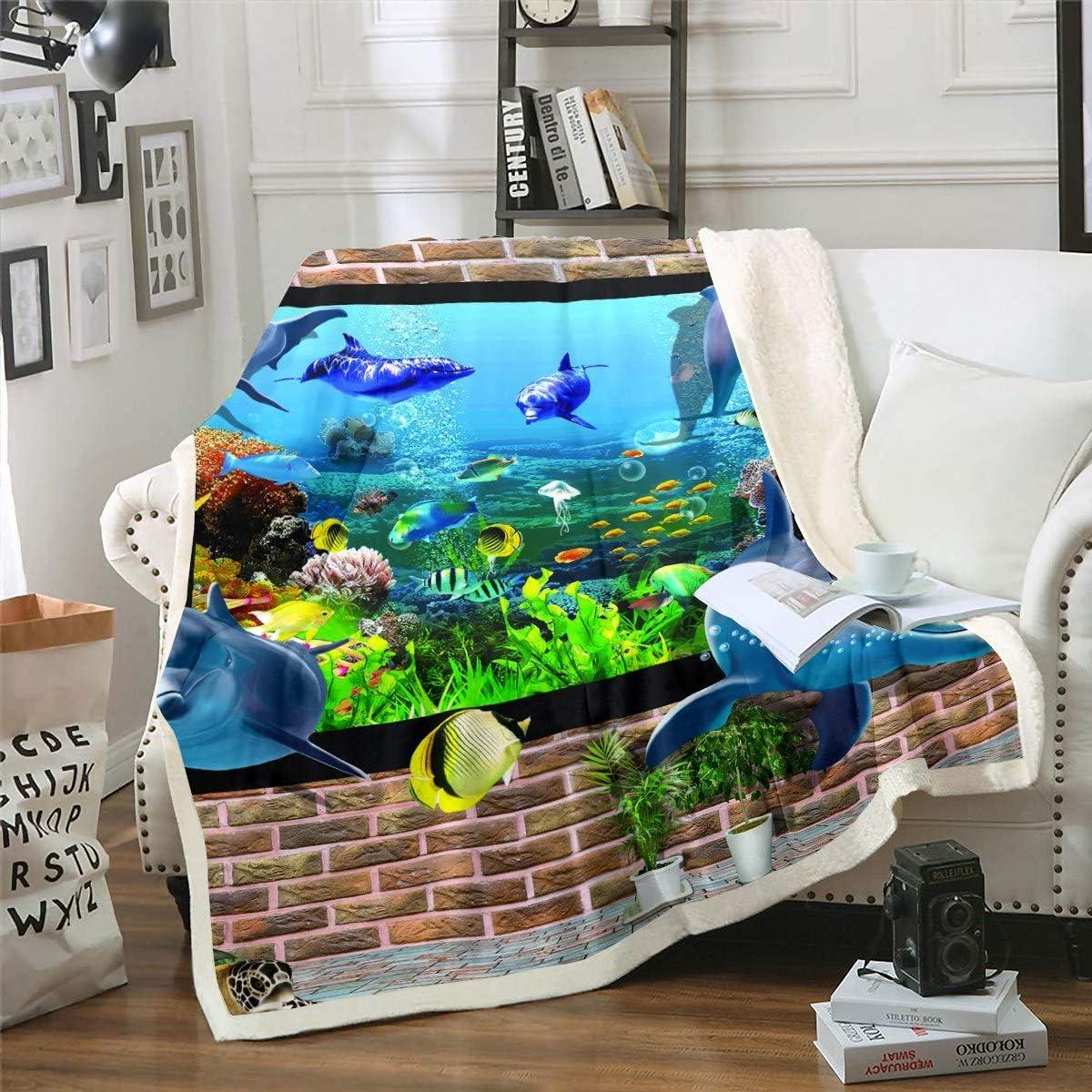 Dolphin Fleece Boston Mall Throw Blanket Marine Life 25% OFF Ocean Theme Animal Sher
