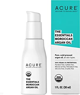 Acure The Essentials Moroccan Argan Oil   100% Vegan   Versatile - For Any Skin & Hair Care Regimen   Pure, Cold Pressed & Rich in Vitamin E - Hydrates & Restores   1 Fl Oz