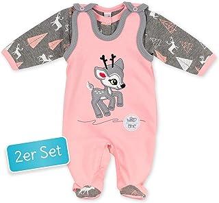 Koala Baby Koala Baby Baby Set Strampler  Shirt rosa grau | Motiv: Reh | Babyset 2 Teile mit Rehkitz für Neugeborene & Kleinkinder | Größe: 9 Monate 74