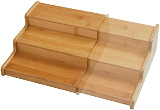 Seville Classics 3-Tier Expandable Bamboo Spice Rack Step Shelf Organizer, Large