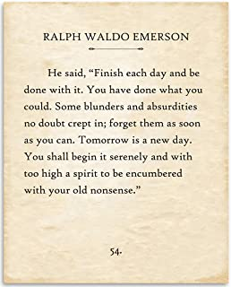 Ralph Waldo Emerson - Finish Each Day - 11x14 Unframed Typography Book Page Print - Great Motivational Gift for Book Lovers Under $15