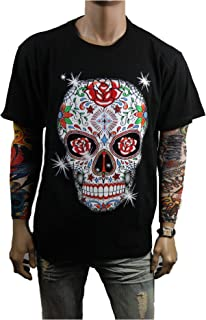 Funny Graphic T-Shirt Sugar Skull Printed Fashion Casual Hip Hop Humor Tee
