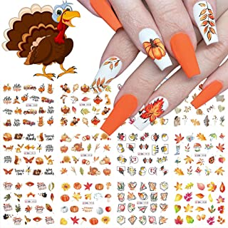 Fall Nail Stickers Autumn Leaves Nail Water Transfer Stickers, Thanksgiving Nail Art Accessories Decals Foils Sliders Yell...