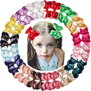 32Pcs Boutique 4 Inch Hair Bows Clips Premium Silky Ribbon HairBows Alligator Clips for Baby Girls Toddlers and Kids 16 Pairs