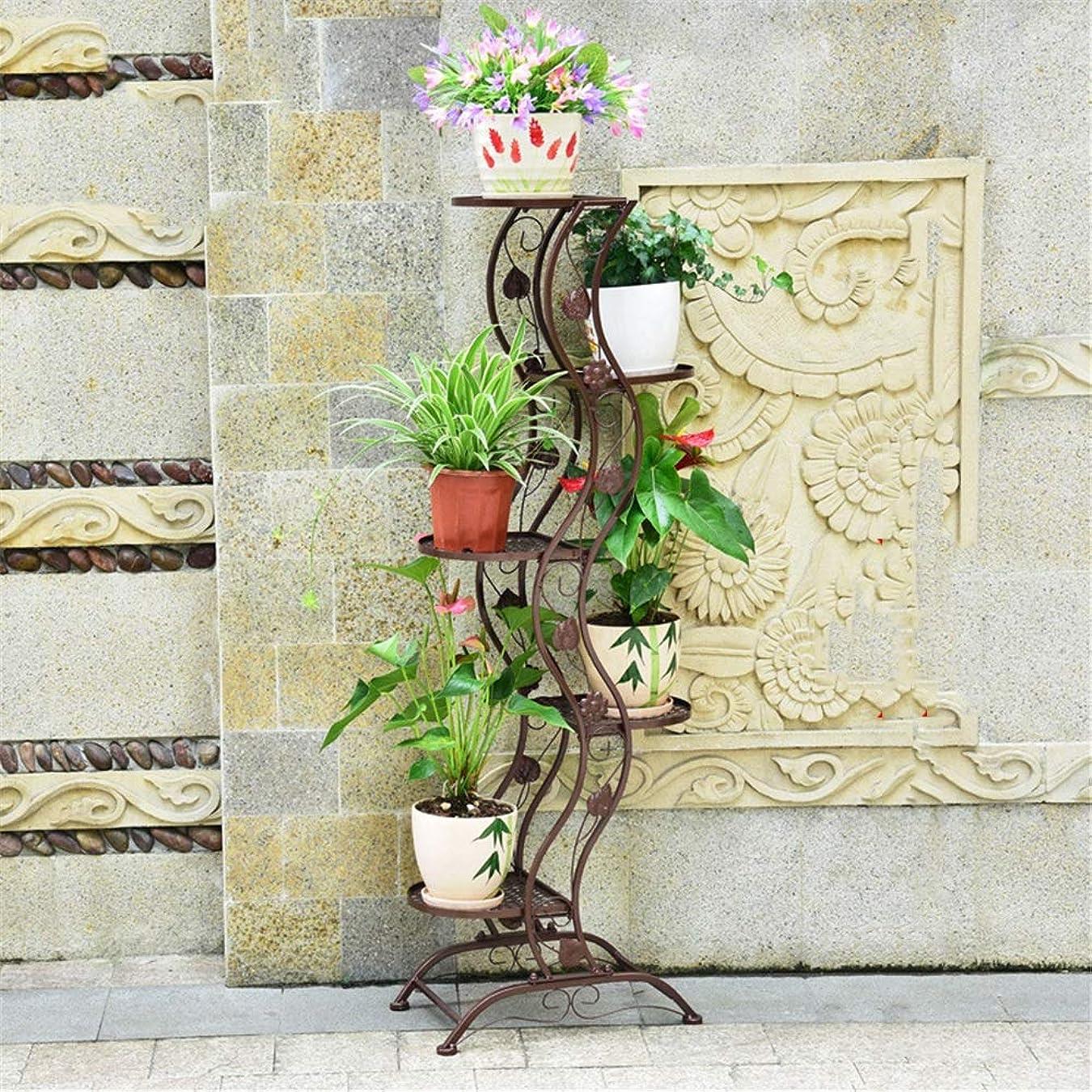 いたずらなハイライト異議鉄多層ポット植物スタンド金属フロアスタンドポットラックガーデンパティオ立ち植物フラワーポットラックディスプレイスタンド 複数プラント用 (色 : ブロンズ, サイズ : 5-layer)