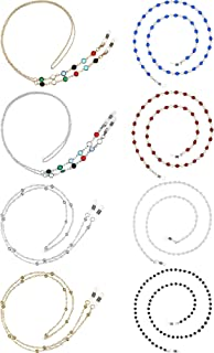 8 Pieces Eyeglasses Chains Beaded Sunglasses Strap Holder Elegant Eyewear Retainer Chain, 8 Styles