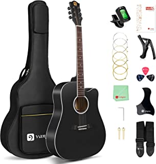 """کیت گیتار آکوستیک Vangoa 41 """"، کیت مبتدی گیتار سیاه صوتی Cutaway ، با جعبه خالی ، تیونر ، بند ، انتخاب ، کاپو ، رشته های اضافی برای مبتدی"""