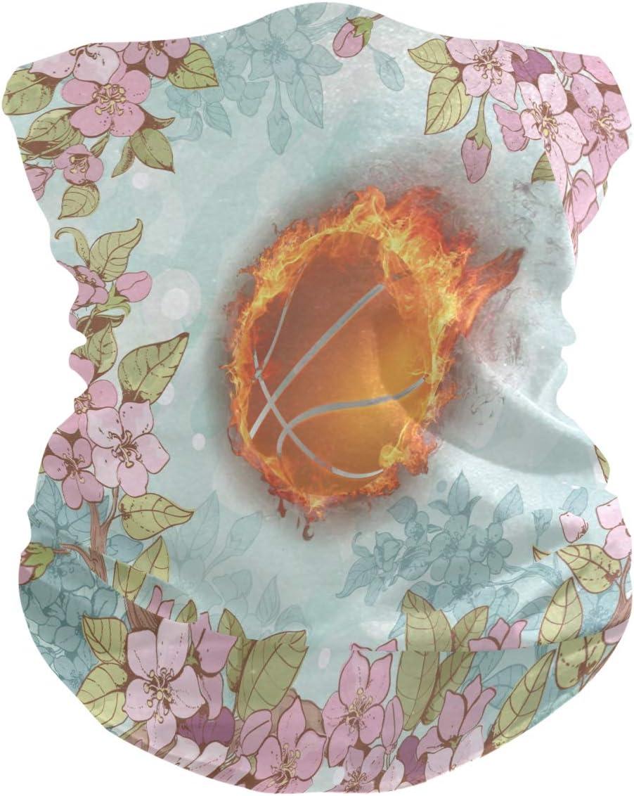 LDIYEU Baloncesto De Flores Pañuelo Bandana para la Cara 3D Balaclava Motero Bufanda Ciclismo Bici Máscara Facial Protección UV para Ciclismo Niñas Mujeres Hombres(2PACK)