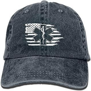 American Flag EMS Star of Life EMT Paramedic Medic Dad Hat Adjustable Denim Hat Classic Baseball Cap