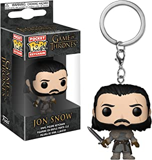 Funko Jon Snow: Game of Thrones x Pocket POP! Mini-Figural Keychain + 1 Official Game of Thrones Trading Card Bundle [31812]