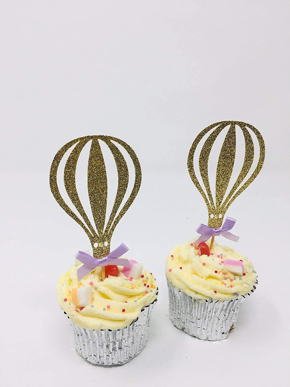 Hot air ballon cupcake topper with the bow. 12 pieces. Birthday party decor. First birthday decorations.