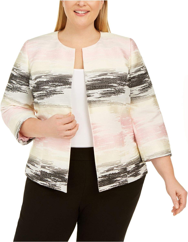 Kasper Women's Long Sleeve Graphic Jacquard Cardigan Jacket
