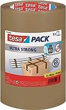 tesa Ultra Strong tape - Verpakkingstape van PVC met bijzonder sterke kleefkracht - Bruin - 3 rollen