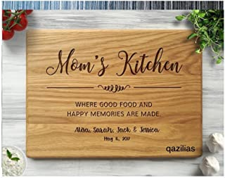 Mom's Kitchen - Personalized Carved Engraved Wood Cutting Board with Juice Groove. Best Kitchen Chopping. 15.7x9.8x0.6 Inch Kitchen Tool. Made of superb oak.
