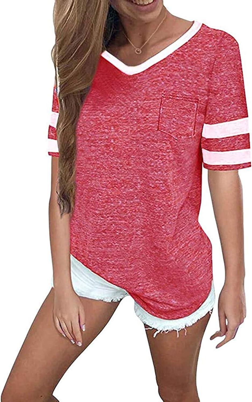 MissLook Women's Color Block Shirts Baseball Tees Short Sleeve Striped Tunics Blouses Tops