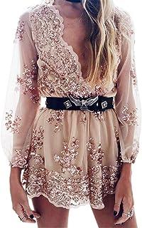 e8b9f0d81087 Simplee Apparel Women s Long Sleeve Sequin Floral V Neck Romper Jumpsuit
