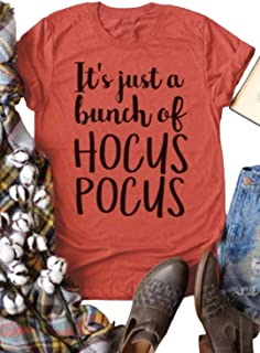 Women's It Just A Bunch of Hocus Pocus Halloween Funny Shirt Letters Graphic Cute Tees Casual Short Sleeve Tops