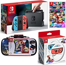 Nintendo Switch Mario Kart 8 Deluxe Bundle: Mario Kart 8 Deluxe, Nintendo Switch 32GB Console with Neon Red and Blue Joy-Con, Nintendo Joy-Con Wheel (Set of 2), Deluxe Traveler Case