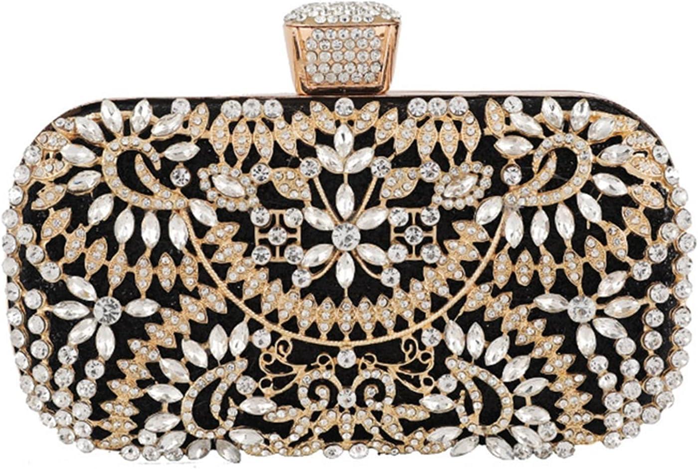 NC Diamond Evening Clutch Bag for Women Wedding Golden Clutch Purse Chain Shoulder Bag Small Party Handbag with Metal Handle (Color : Black A)
