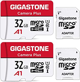 Gigastone Micro SD Card 32GB マイクロSDカード フルHD 2Pack 2個セット 2 SDアダプタ付 2 ミニ収納ケース付 w/adapter and case SDHC U1 C10 90MB/S 高速 micr...