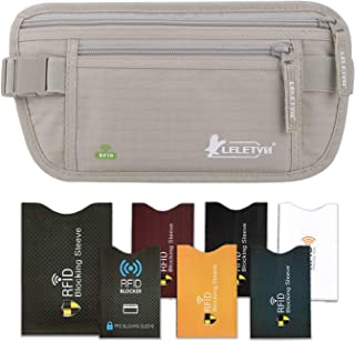 LELETVN Travel Hidden Money Belt - Security Pouch for Cards and Passports - RFID Waterproof Breathable Material - Protect Your Cash and Conceal Valuables with 7 Bonus Sleeves