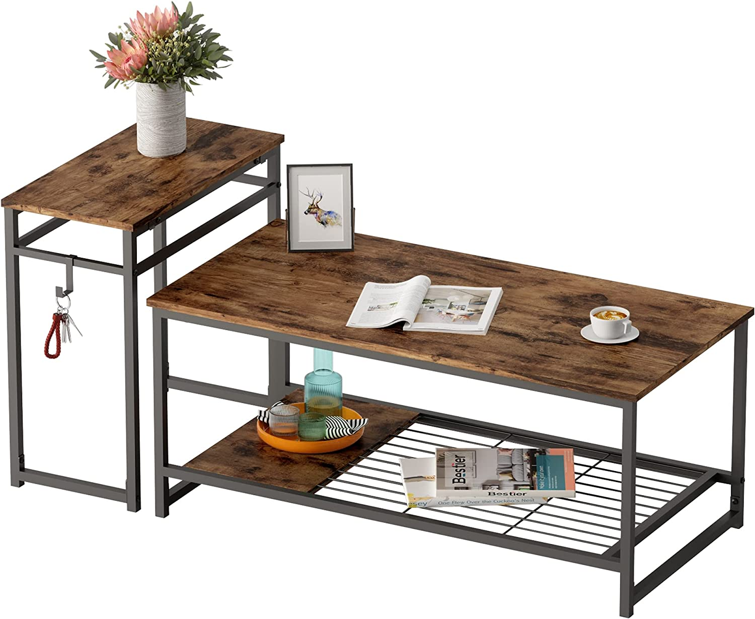 """Bestier 42""""End Table Sets 2 in 1 Modern Coffee Nesting Tables Occasional Set w Adjustable Storage Shelf, Hook, Sofa Side Tables Industrial Furniture for Living Room, Rustic Brown"""