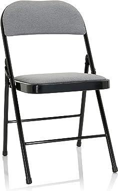 hjh OFFICE Tudela II 803011 Chaise pliante rembourrée en tissu Gris clair Charge maximale 130 kg