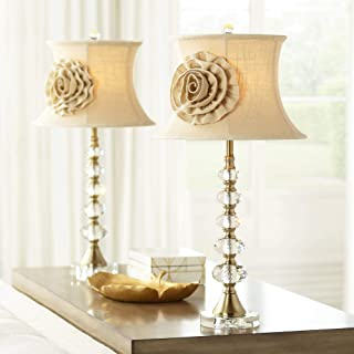 Hilary Traditional Table Lamps Set of 2 Crystal Fabric Rose Bell Shade for Living Room Bedroom Bedside Nightstand Office Family - Vienna Full Spectrum