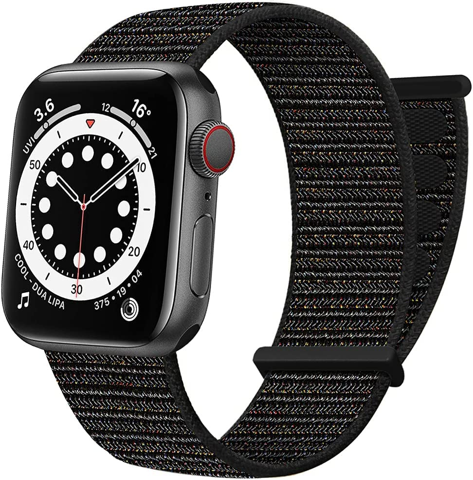 AdMaster Sport Nylon Velcro Band Compatible with Apple Watch 38mm 40mm 41mm, Adjustable Breathable Woven Men Women Braided Loop Strap for iWatch Series 7/6/5/4/3/2/1 SE 38/40/41 mm Light Black