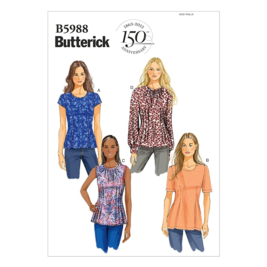 BUTTERICK PATTERNS B5988 Misses'/Misses' Petite Top Sewing Template, Size F5