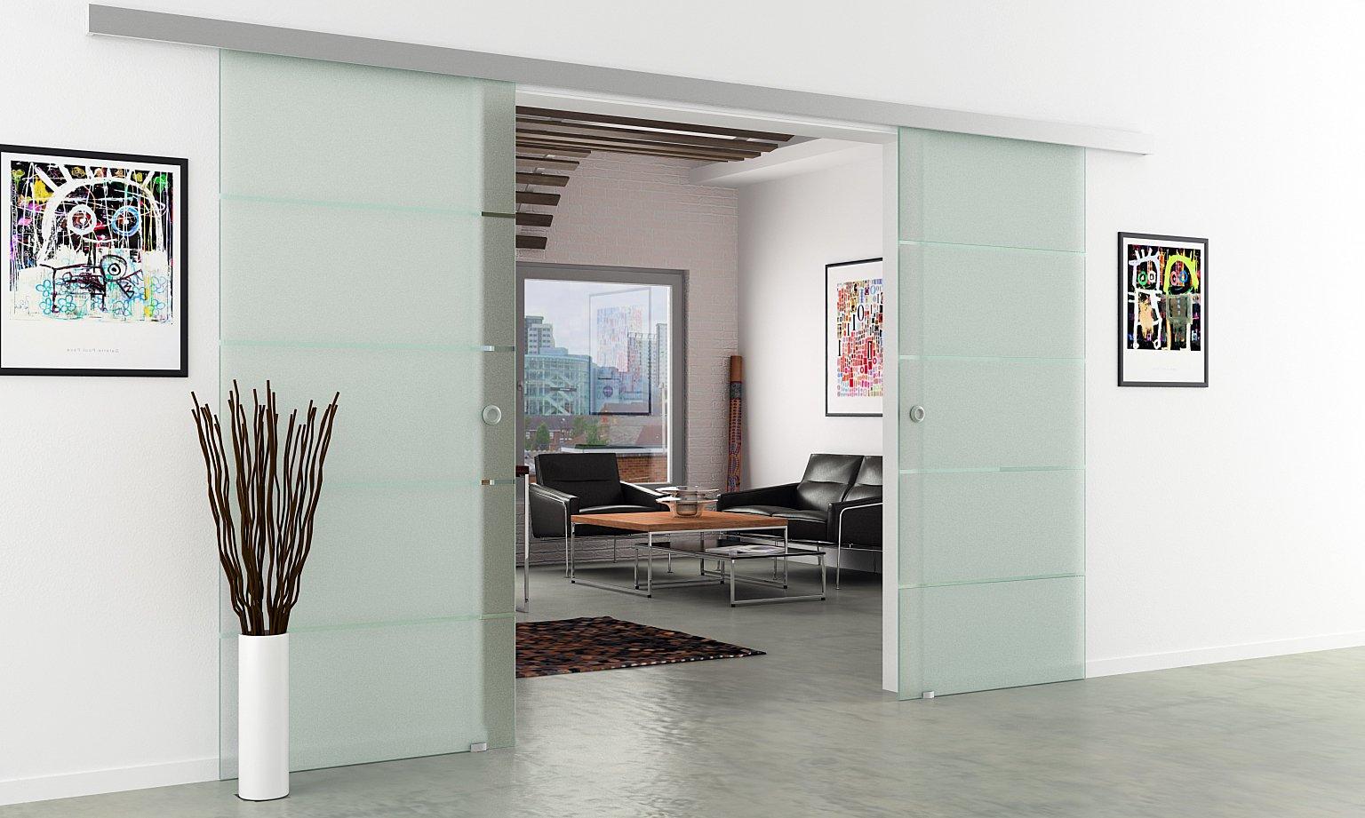 Correderas de cristal de puerta de planta | Anchura total: 1550 mm - Altura total: 2050 mm | Vidrio satinado con 4 rayas | Tiradores LEVIDOR basic system - protector de pantalla
