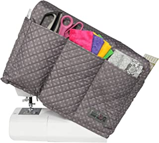 Everything Mary Grey Quilted Sewing Machine Cover - Dust Cover Protector That Fits Most Standard Brother & Singer Machines - Collapsible with Storage Pocket