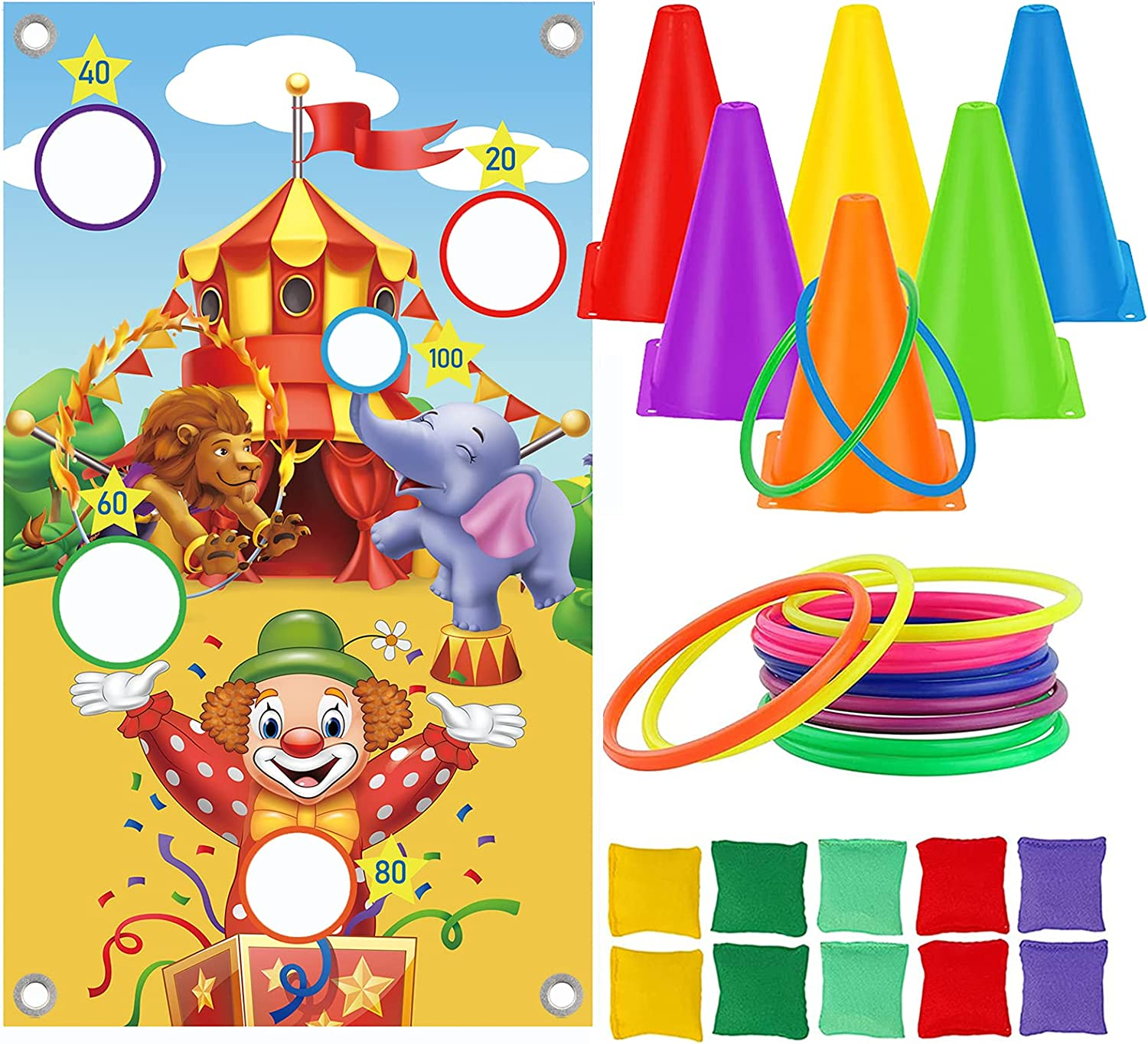 LOYALSE Carnival Game Set Special price for a limited time 31pcs Bean Bags Cone Plastic Los Angeles Mall