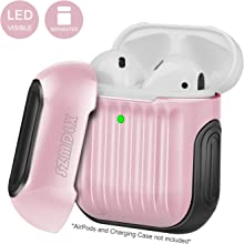 SZMDLX AirPods 2 & 1 Case, Protective AirPods Cover Skin, Portable Soft TPU + PC AirPods Case Accessories with Keychain for Apple AirPods Wireless and Wired Charging Case, Front LED Visible (Pink)