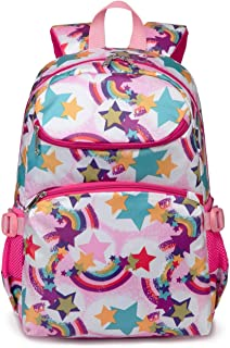 Cute Kids School Backpacks for Girls Kindergarten Elementary School Bags Girly Bookbags for Children (Rainbow Pink)