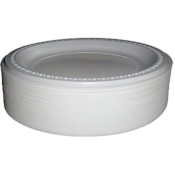 Lote de 100 platos de plástico desechables, color blanco, alta ...
