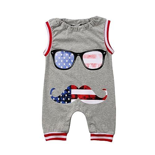 4e2594c8c04 Honganda Summer Toddler Infant Baby Boy Girl Funny Moustache Sleeveless Romper  Jumpsuit Outfit