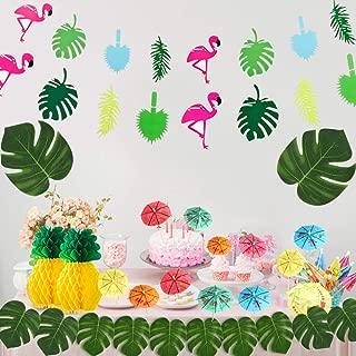 IRuiYinGo Hawaiian Theme Party Decoration - Hawaiian Party Supplies Include Tropical Flamingo Banner, Artificial Palm Leaves, Multicolored Umbrellas, Pineapple Honeycomb Ball