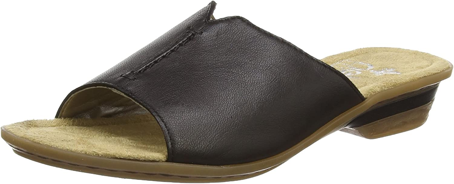 Rieker 63459-00 Ladies Leather Slip-On Mule Sandals Black