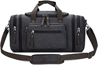 Toupons 20.8'' Large Canvas Travel Tote Luggage Weekender Duffle Bag (Black, X-Large)