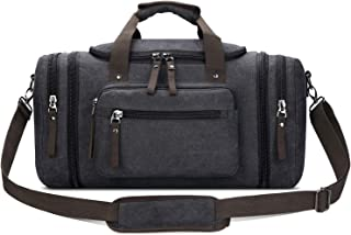 Toupons Travel Duffel Bag for Men Canvas Overnight Weekend Bag (Black )