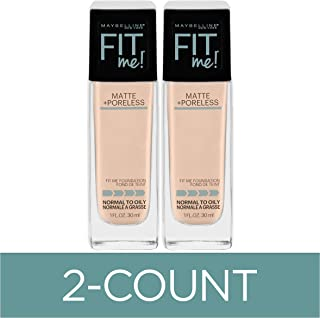 Maybelline Fit Me Matte + Poreless Liquid Foundation Makeup, Natural Ivory, 2 COUNT Oil-Free Foundation