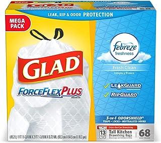 Glad Tall Kitchen Drawstring Trash Bags - ForceFlexPlus 13 Gallon White Trash Bag, Febreze Fresh Clean - 68Count
