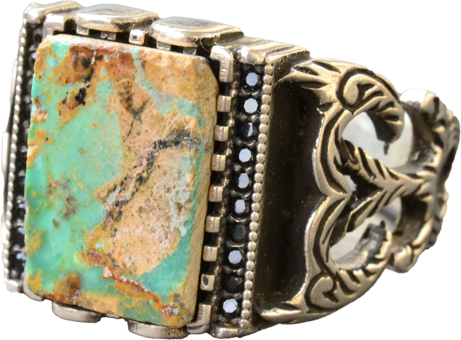 Indianapolis Mall Real Popular shop is the lowest price challenge Turquoise Gemstone Ring Mens Sterling Silver