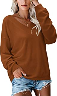 Women's Long Sleeve V Neck Shirt Loose Tied Bow Back Tops Knitted Sweater