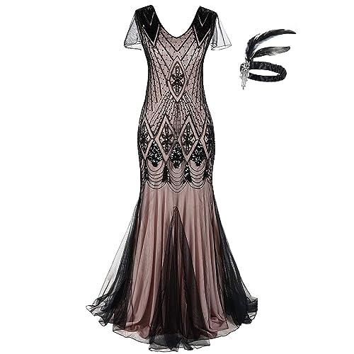 873eee1ad6 Women 1920s Long Prom Gown Beaded Sequin Mermaid Hem Ball Evening Dress  with Sleeve Headband Free