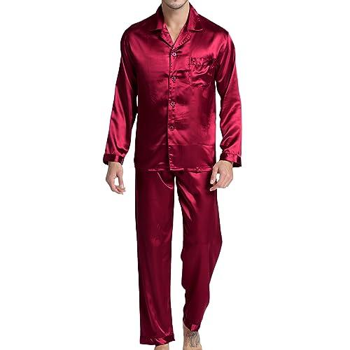 Men s Sleepwear Satin Pyjama Set Nightwear Loungewear 21dae7364
