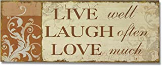 Adeco SP0155 Decorative Wood Wall Hanging Sign Plaque, Live, Laugh Love Orange Beige Home Decor - 14.9x5.9 Inches