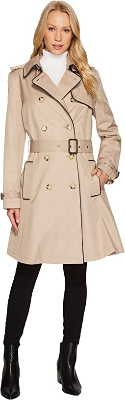 Double Breast Faux Leather Trim Trench